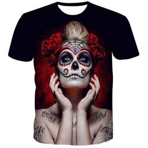 Fashion Men's Pullover Round Collar Skull Lady Printing T-Shirt - Colormix - S