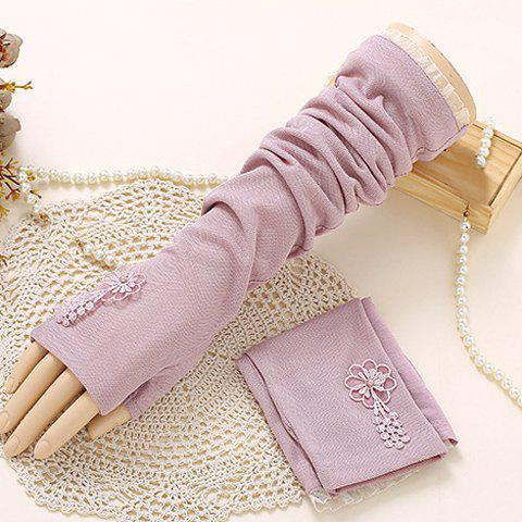 Shops Pair of Chic Flower Embroidery Lace Edge Long Fingerless Gloves For Women
