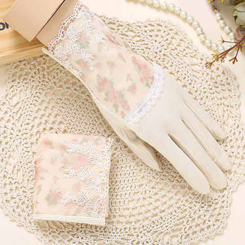 Discount Pair of Chic Lace Embellished Tiny Floral Pattern Gloves For Women