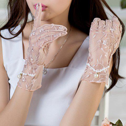 Sale Pair of Chic Flower Embroidery Faux Pearl Pendant See Through Lace Gloves For Women