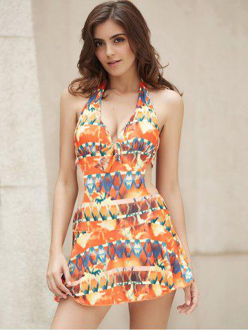 Best Halter Printed Cut Out Monokini Dress One Piece Swimwear COLORMIX S
