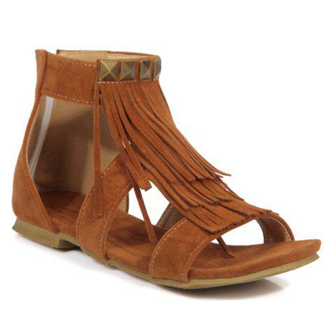 Trendy Casual Rivets and Fringe Design Sandals For Women