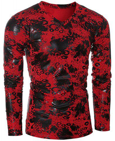 New Trendy V-Neck Ink Design Long Sleeve Slimming Men's T-Shirt RED 2XL