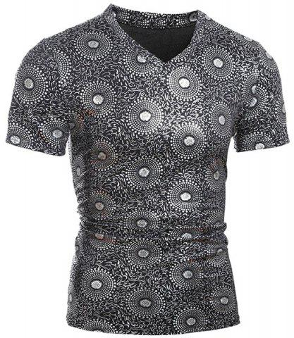 Hot Trendy V-Neck Stamping Design Short Sleeve Slimming Men's T-Shirt SILVER 2XL