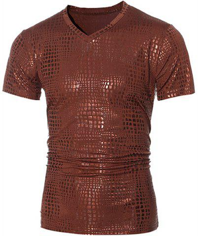 Fashion V-Neck Stamping Design Short Sleeve Men's T-Shirt - Brown - L