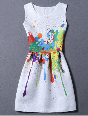 Fancy Sweet Colorful Print Round Neck Women's Dress WHITE S