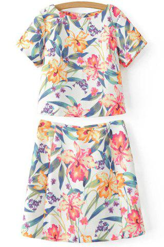 Fancy Trendy Floral Print Cropped T-Shirt and Mini Skirt Twinset For Women