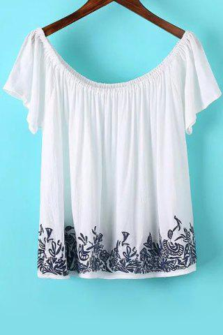 Buy Stylish Short Sleeve Off The Shoulder Embroidered Women's T-Shirt