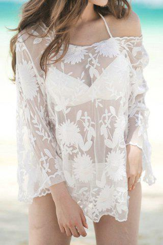 Shops Trendy Scoop Neck See-Through Cover Up For Women