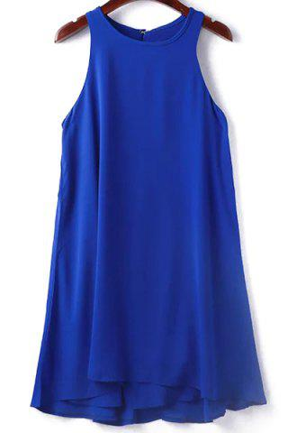 Small SAPPHIRE BLUE Round Collar Sleeveless Solid Color Dress