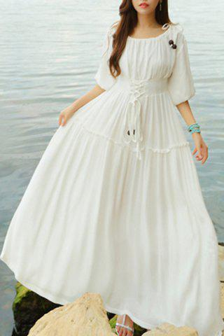 Lace Up A Line Maxi Holiday Beach Dress - White - M