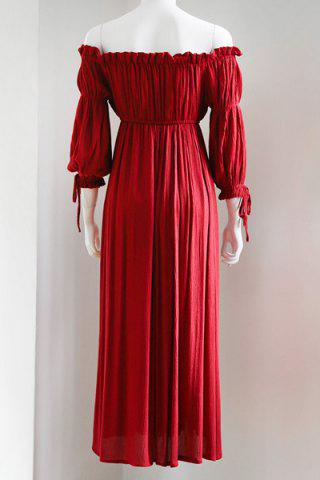 Latest Trendy Maxi 3/4 Sleeve Drawstring Red Dress For Women - M RED Mobile