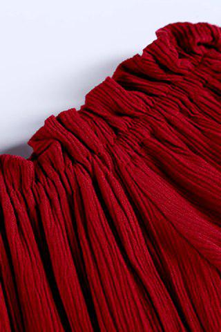 Affordable Trendy Maxi 3/4 Sleeve Drawstring Red Dress For Women - M RED Mobile