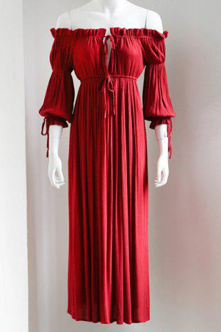 Online Trendy Maxi 3/4 Sleeve Drawstring Red Dress For Women - M RED Mobile