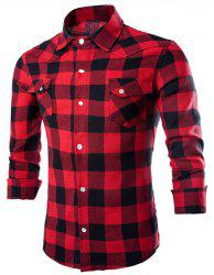 Stylish Shirt Collar Classic Big Check Polyester Men's Spring Shirt - RED