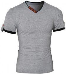 Trendy V-Neck Color Block Spliced Button Embellished Short Sleeve Men's T-Shirt - GRAY
