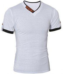 Trendy V-Neck Color Block Spliced Button Embellished Short Sleeve Men's T-Shirt - WHITE