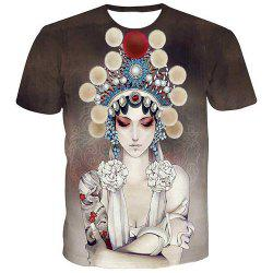 Fashion Men's Pullover Round Collar Actress Printing T-Shirt - COLORMIX S