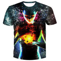 Men's Fashion Pullover Witch Printed T-Shirt - COLORMIX S