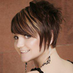 Fancy Short Side Bang Capless Shaggy Wavy Brown Mixed Synthetic Wig For Women -