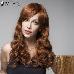 Fluffy Siv Hair Wavy Side Bang Human Hair Wig For Women - LIGHT BLONDE 18/27#