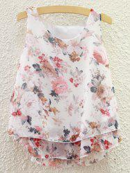 Sweet Scoop Neck Tiny Floral Print Chiffon Tank Top For Women -
