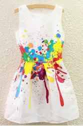 Cute Round Collar Colorful Summer Dress For Women - WHITE M
