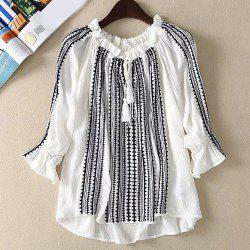 Ruffled Neck Tassel Embroidered Blouse -