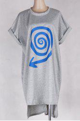 Batwing Sleeve Print Tee Dress - GRAY ONE SIZE(FIT SIZE XS TO M)