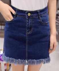 High Waisted Frayed Denim Skirt