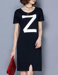 Fashionable Scoop Neck Short Sleeve Letter Print Dress For Women -