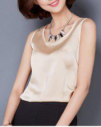 Fashionable Scoop Neck Solid Color Tank Top For Women -