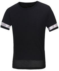Vogue Round Neck Letters Embroidered Spliced Design Short Sleeves T-Shirt For Men -