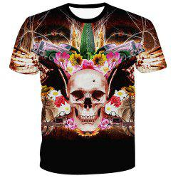 Men's Fashion Pullover Flower Skull Printed T-Shirt -