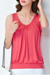 Casual V-Neck Solid Color Plus Size Tank Top For Women