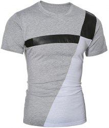 Trendy Round Neck Color Block PU-Leather Spliced Short Sleeve Men's T-Shirt - GRAY