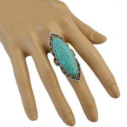 Stylish Faux Turquoise Hollow Out Mid Finger Ring