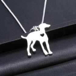 Dog Heart Hollow Out Pendant Necklace - SILVER