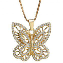 Hollow Out Rhinestoned Butterfly Necklace