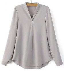 Fashionable V-Neck Long Sleeve Solid Color Shirt For Women -