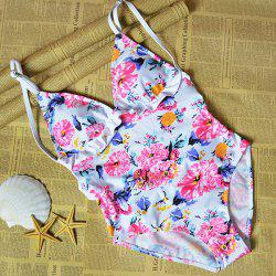 Floral Ruffle Strap One Piece Swimwear - COLORMIX S