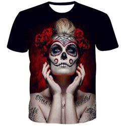 Collar T-shirt Lady Impression Skull Pull Round Mode pour hommes - Multicolore