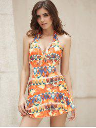 Halter Printed Cut Out Monokini Dress One Piece Swimwear
