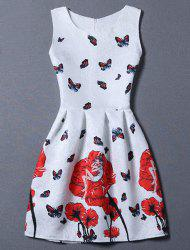 Sweet Floral Jacquard Sleeveless Round Neck Women's Dress - WHITE