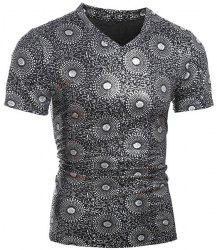 Trendy V-Neck Stamping Design Short Sleeve Slimming Men's T-Shirt
