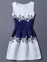 Sunflower Jacquard A Line Cocktail Dress - WHITE