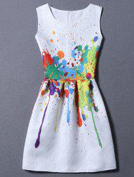 Sweet Colorful Print Round Neck Women's Dress - WHITE