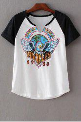 Stylish Round Neck Short Sleeve Eagle Print Women's T-Shirt