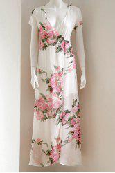 Short Sleeve Floral Maxi Wrap Dress