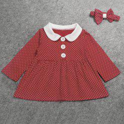 Cute Peter Pan Collar Long Sleeve Polka Dot Girl's Dress -